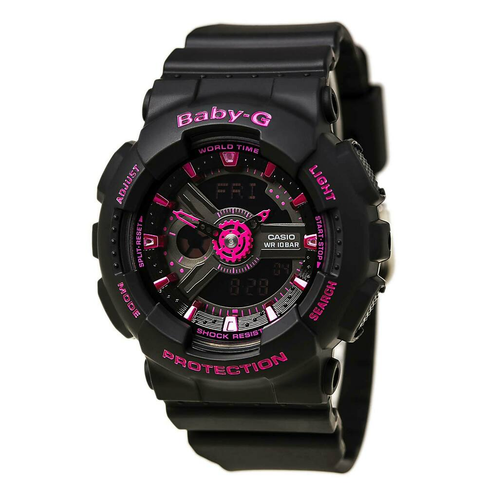 Casio ba111 1a womens baby g world time black dial black resin strap alarm watch ebay for Black resin ladies watch