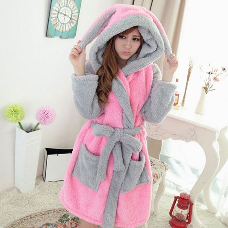 New Women Winter Pajamas Hooded Nightgown Coral Cute