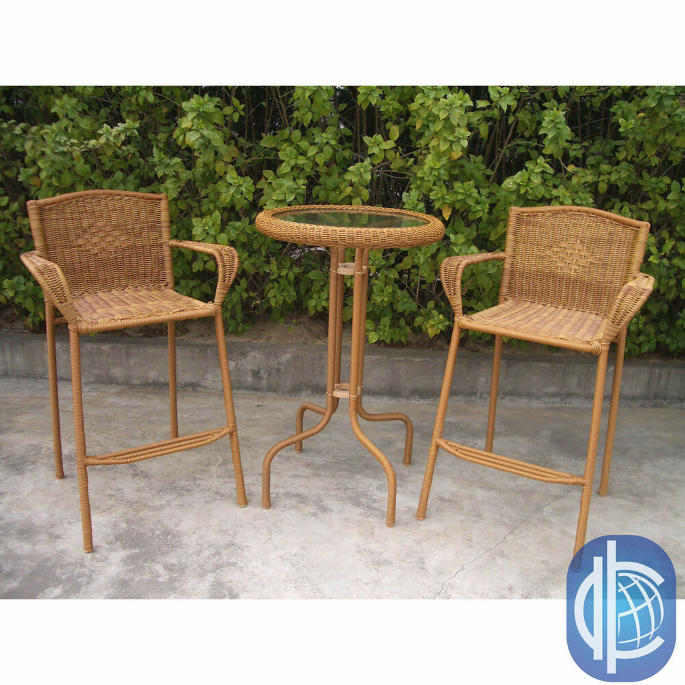 International Caravan Resin Wicker Outdoor 3 Piece Bar Height Bistro Set EBay