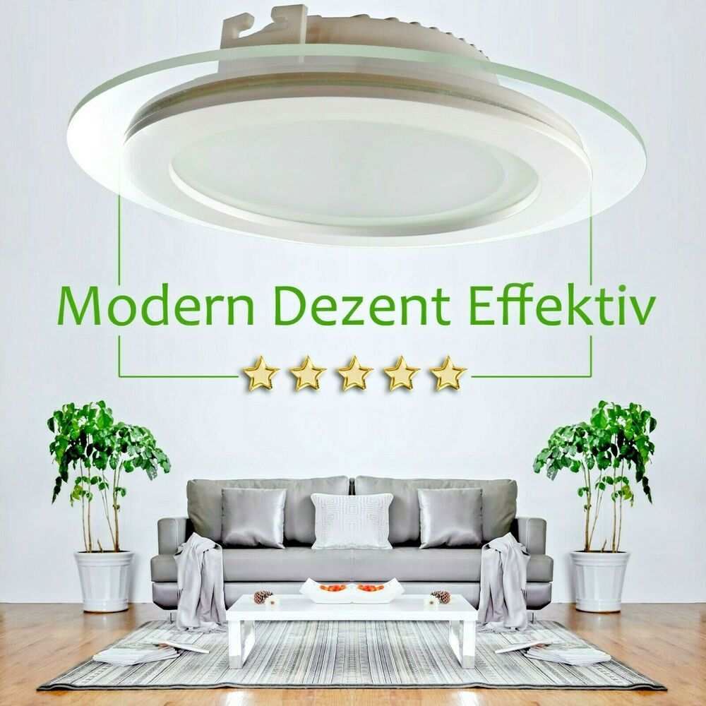 maxkomfort led panel glas rund eckig einbau spot einbaustrahler einbaulampe ebay. Black Bedroom Furniture Sets. Home Design Ideas