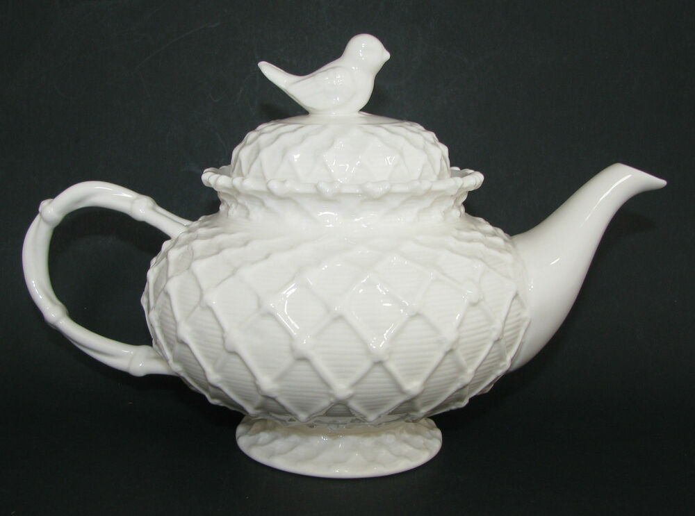 Gracie China 3 D Victorian Bird White Lace Ceramic Coffee