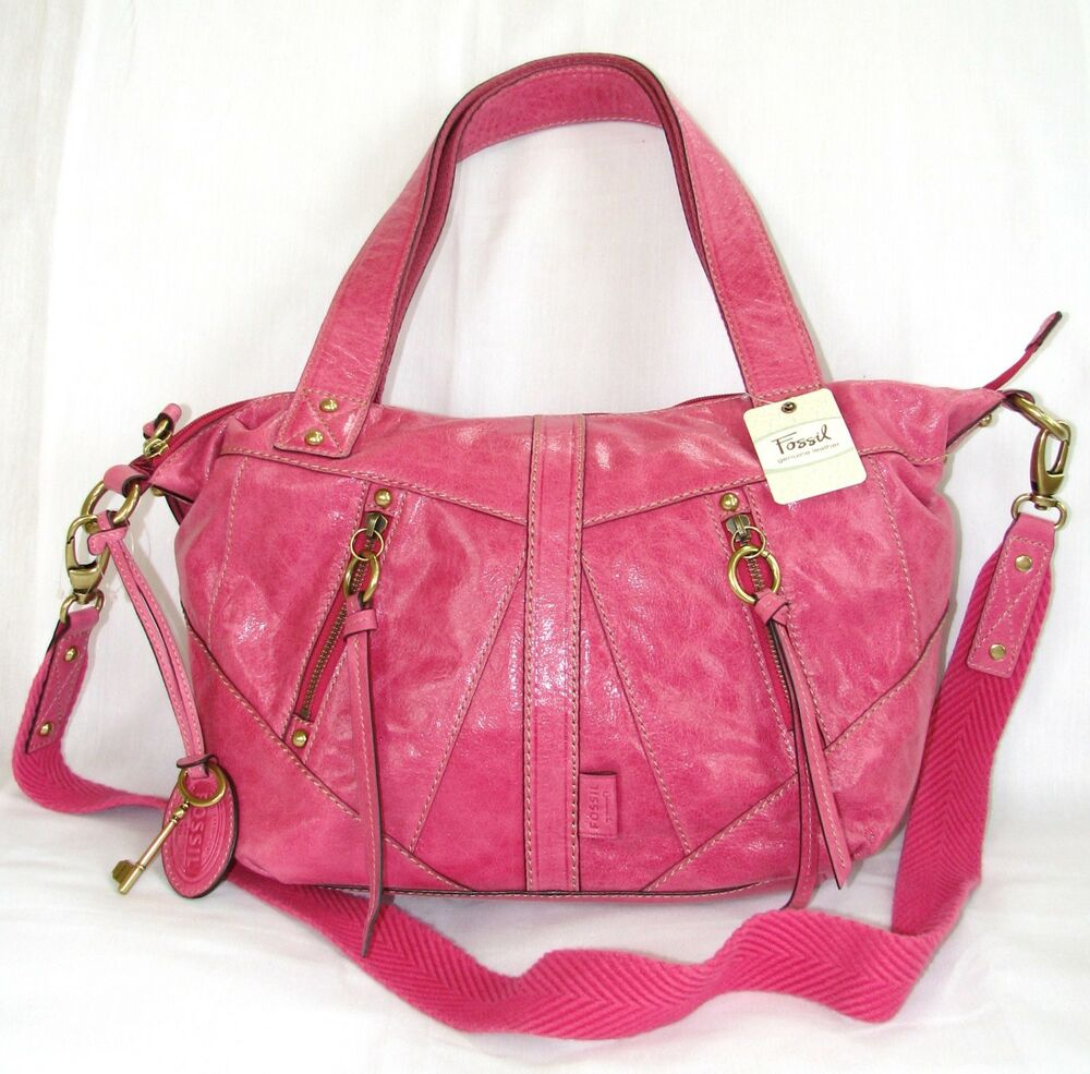 Fossil Monika Flamingo Pink Leather Convertible Satchel Bag Crossbody Strap New Ebay