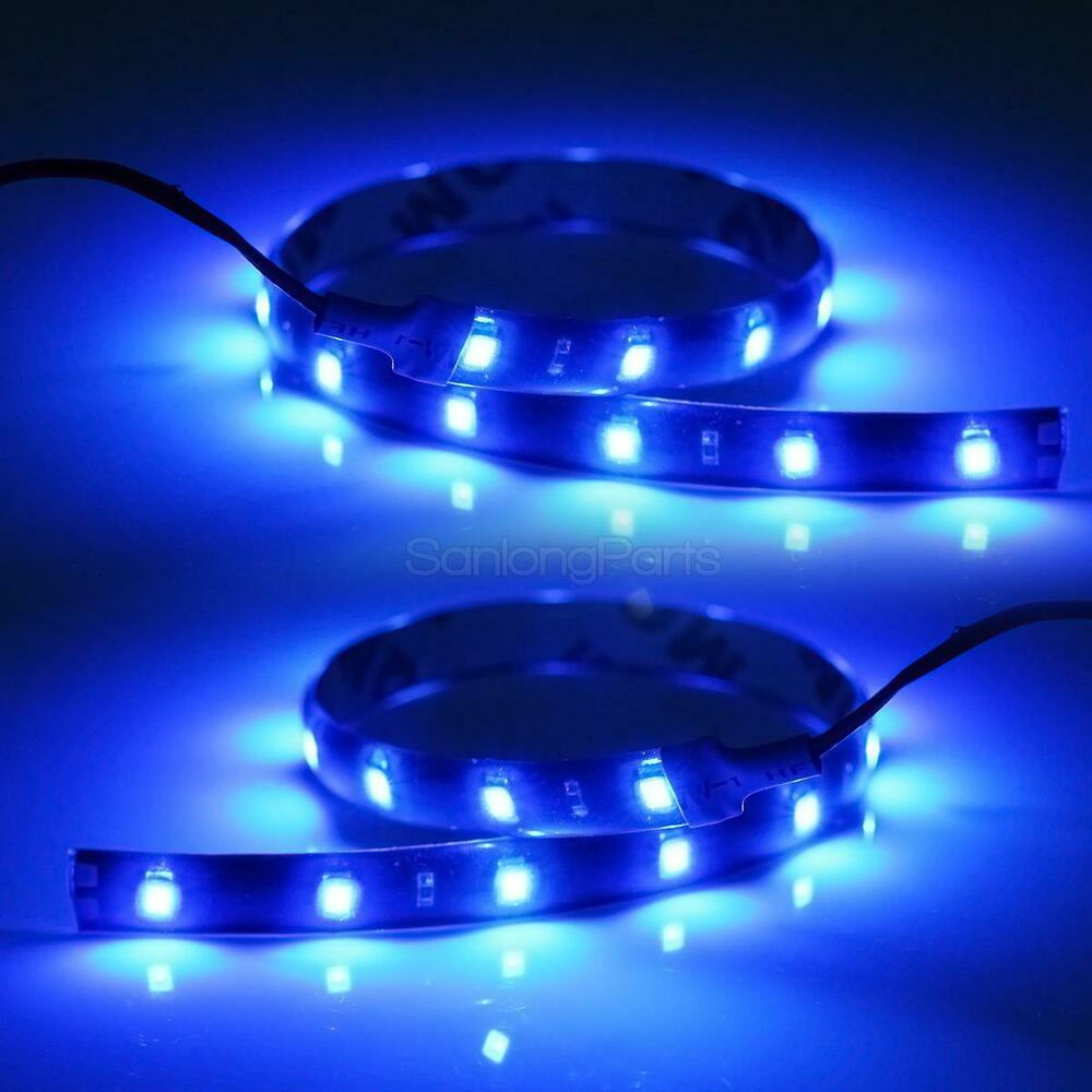 2x blue led strip lights interior glow neon lighting truck suv 12 15 3528 smd ebay. Black Bedroom Furniture Sets. Home Design Ideas