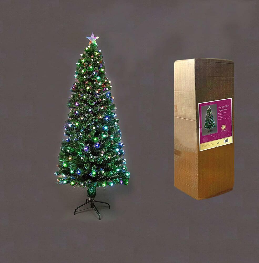 Pre Lit Christmas Tree LED Fibre Optic Lights Up Xmas Home