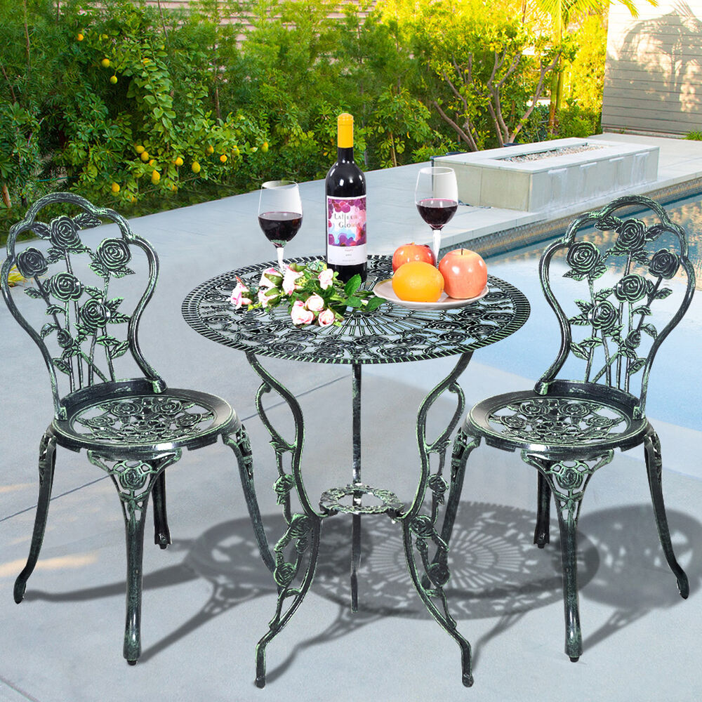 Patio furniture cast aluminum rose design bistro set for Small metal patio set