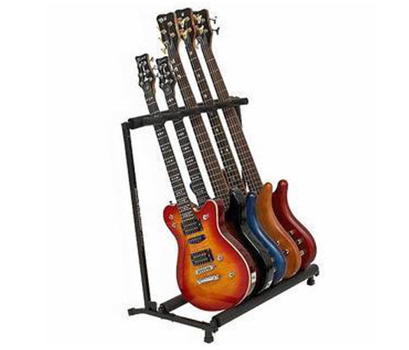 hot 5 five multiple guitar bass stand holder stage folding multi rack ebay. Black Bedroom Furniture Sets. Home Design Ideas
