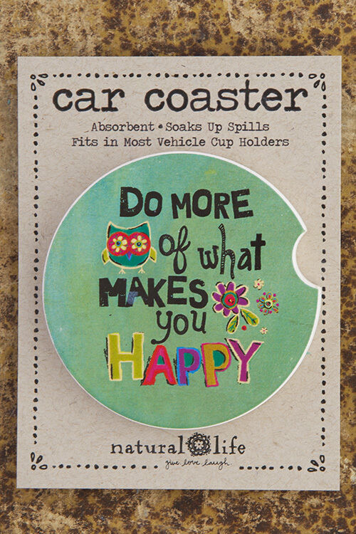 Natural Life Car Coaster Stoneware Fits In Car Cup Holder