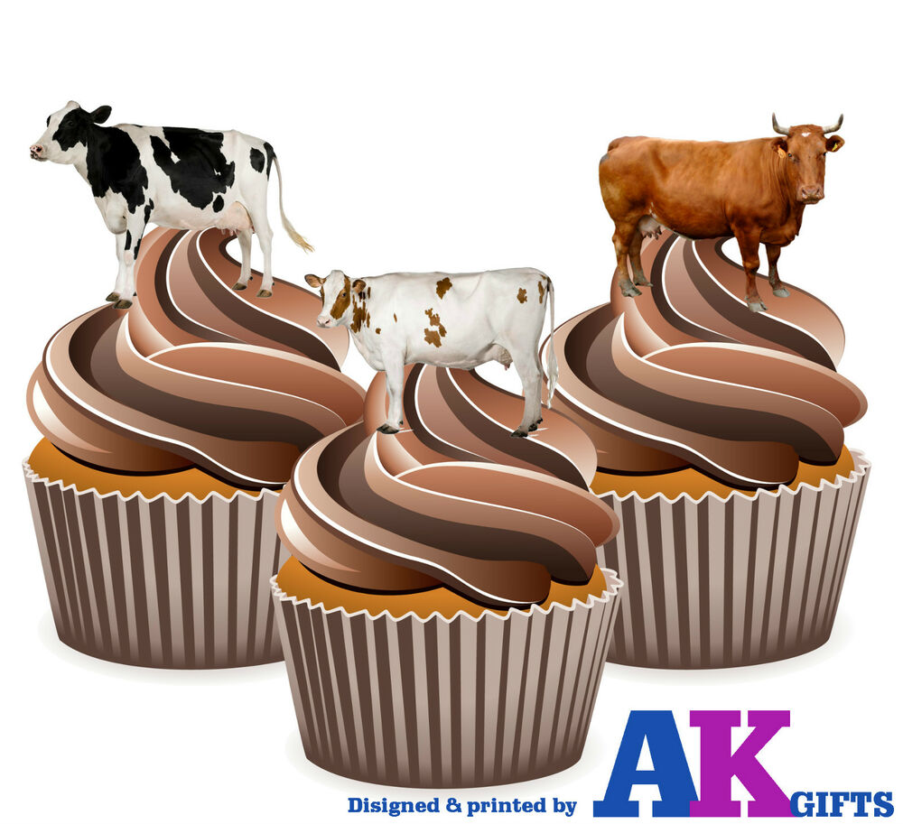 Farm Animals Cows Birthday Party 12 Cup Cake Toppers ...