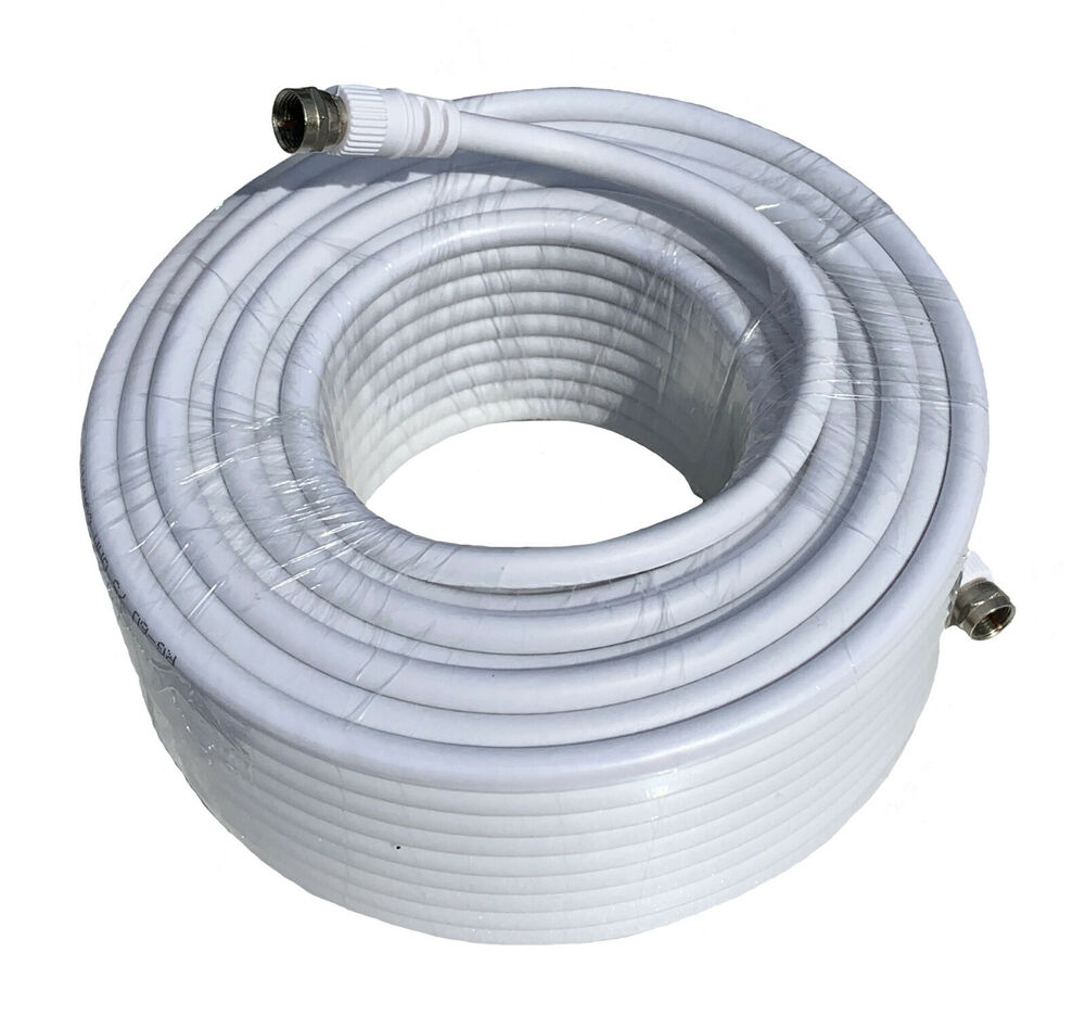 75 ft rg6 white coax cable connectors 75 coaxial feet hd 75ft long tv indoor ebay. Black Bedroom Furniture Sets. Home Design Ideas