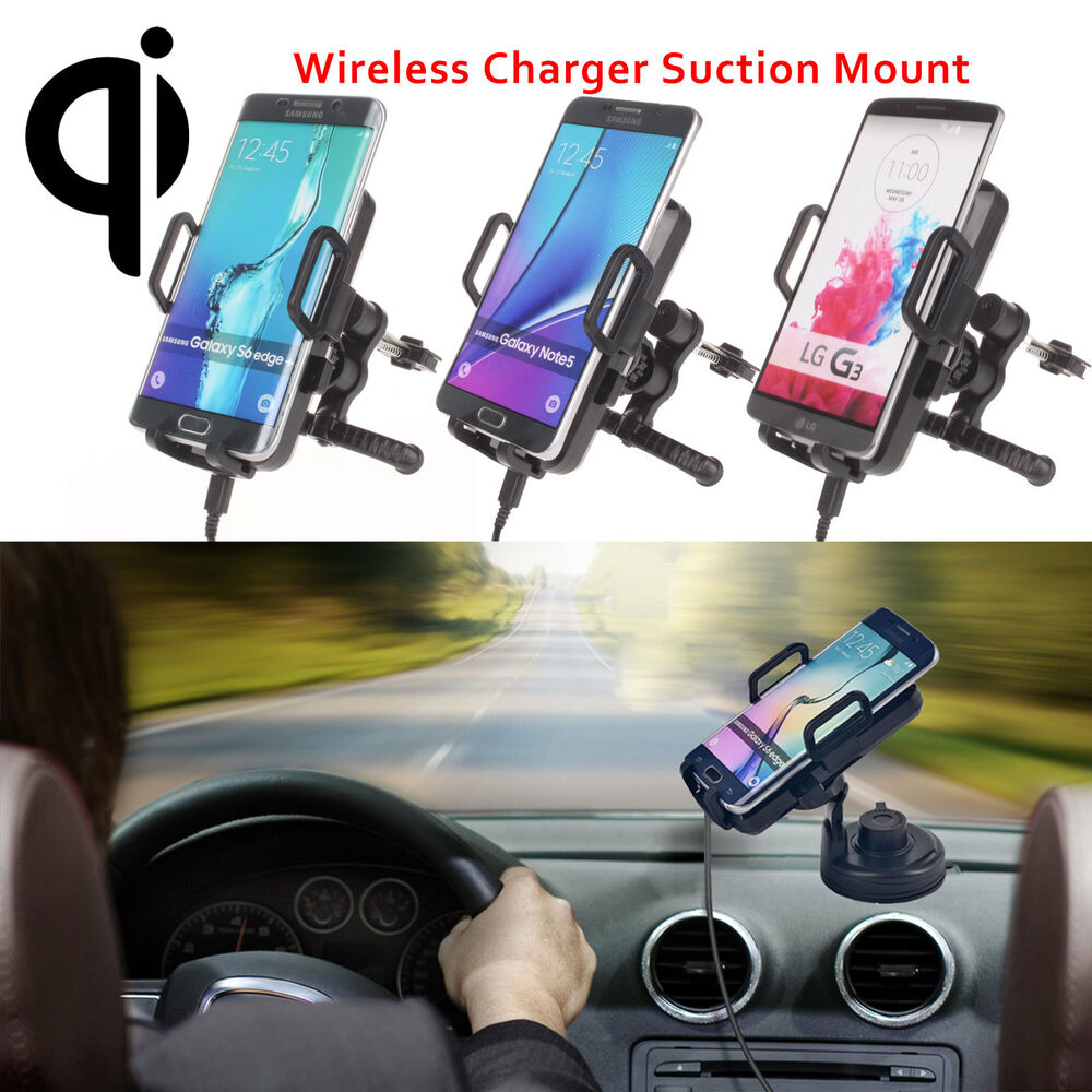 360 rotation qi wireless car charger holder mount pad for samsung galaxy s7 s6 ebay - Notepad holder for car ...