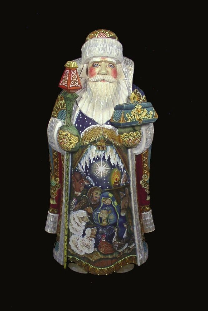Magnificient russian santa hand carved painted nativity