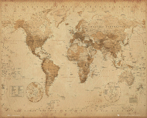 Mini World Map.Mini World Map Antique Style 40 X 50cm Poster Wall Brand New Great