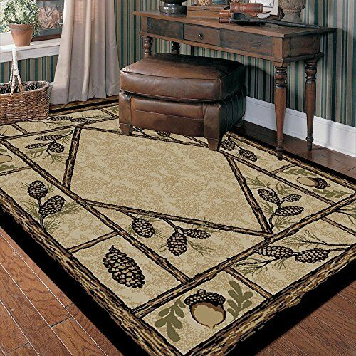 Lodge Cabin Rustic Pinecone Pine Forest Area Rug **FREE