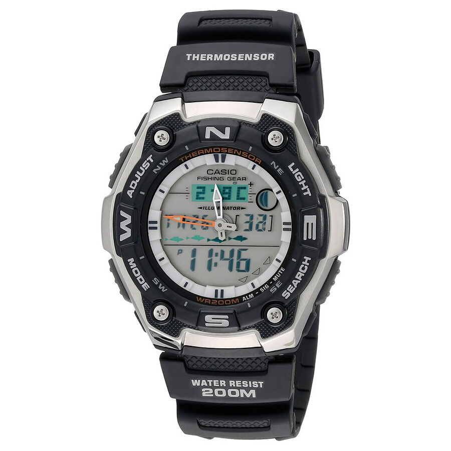 Casio aqw101 1av men 39 s analog digital fishing gear for Casio fishing watch