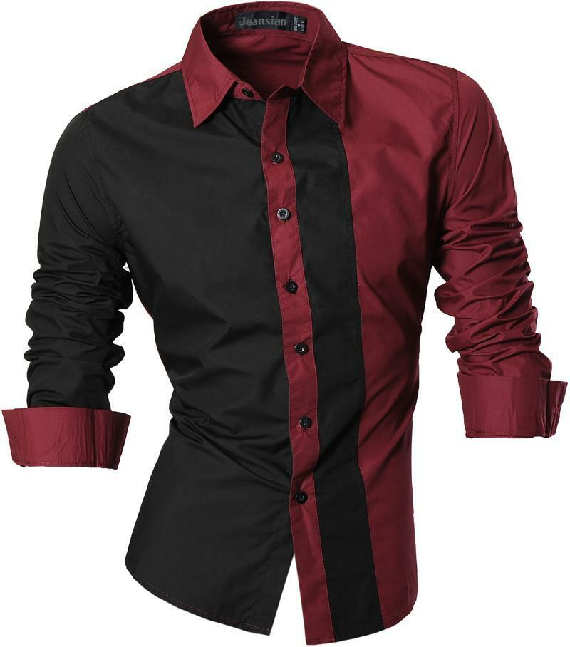 Jeansian mens shirts dress casual slim fit fashion tops 4 for In style mens shirts