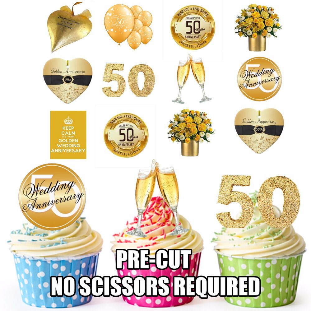 Golden 50th wedding anniversary party pack 36 edible for 50th birthday decoration packs