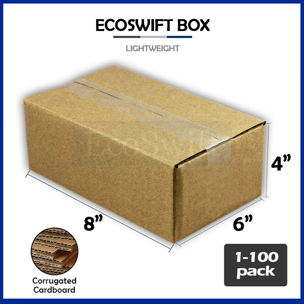 1 100 8x6x4 ecoswift cardboard packing mailing shipping corrugated box cartons ebay. Black Bedroom Furniture Sets. Home Design Ideas