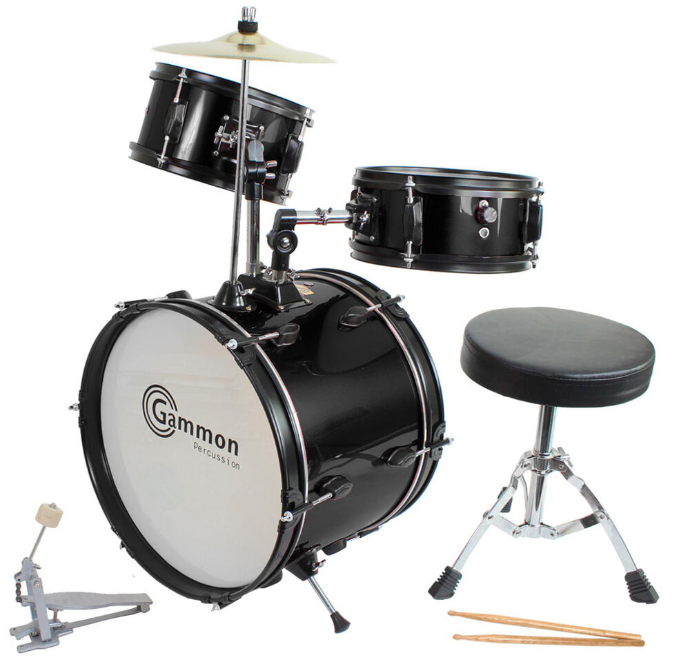 New Gammon Black Drum Set Junior Childrens Complete Child