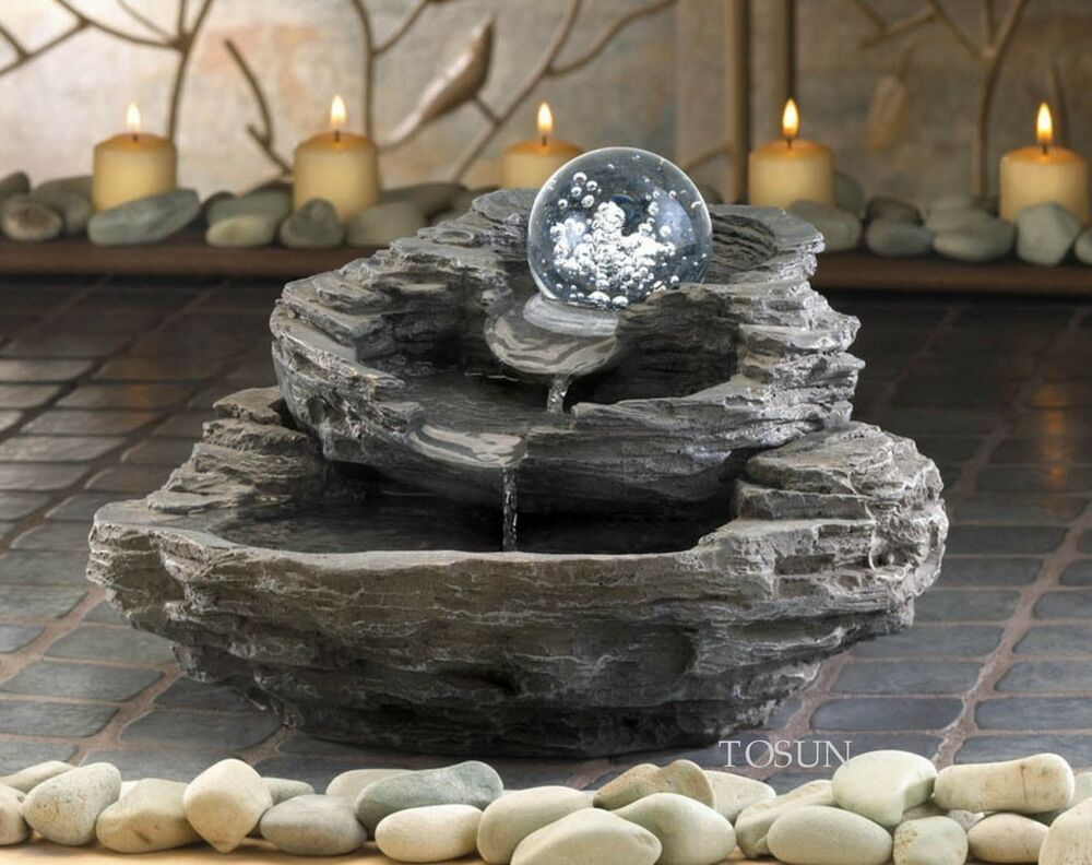 Rock design tabletop indoor water fountain clear orb pump for Indoor water fountain design malaysia