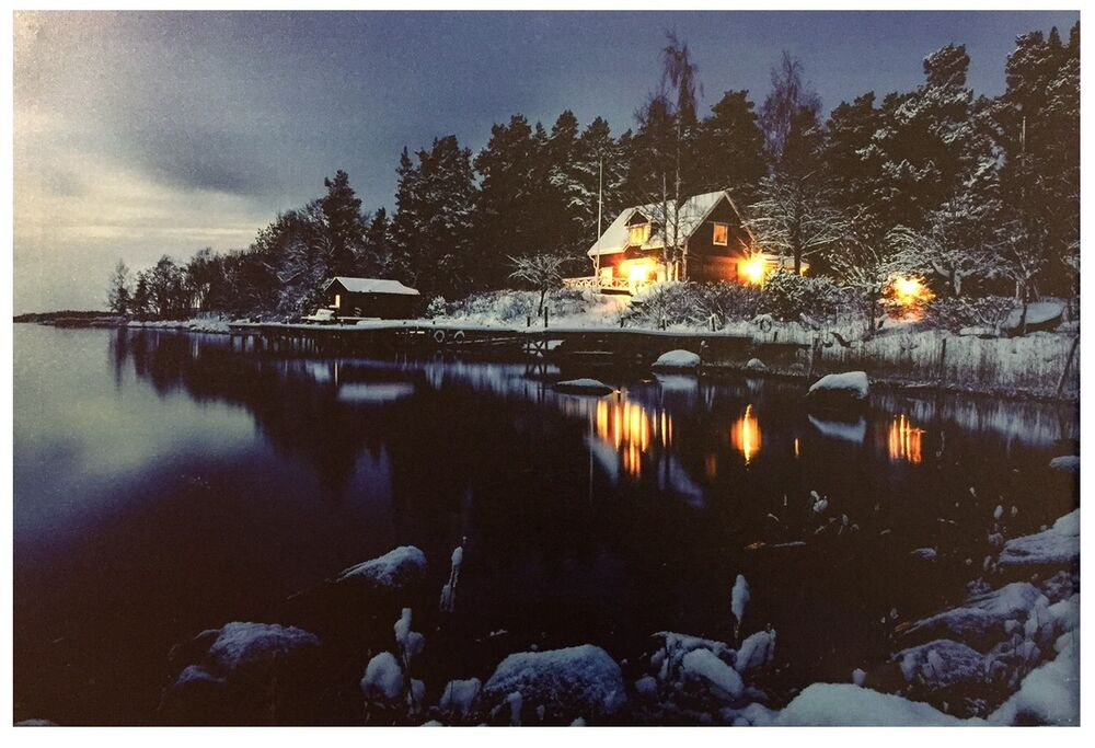 LED Lighted~Lake Cabin Canvas Wall Art ~Picture Lodge ...