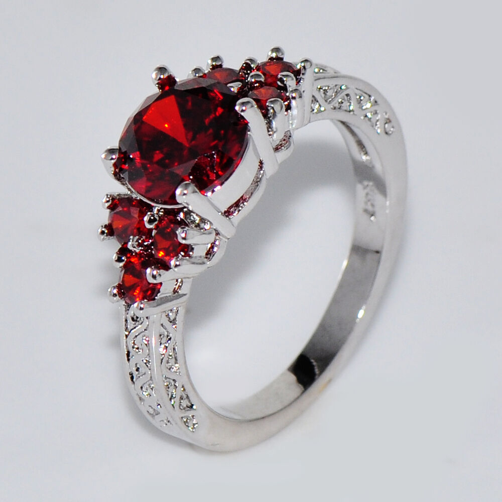 Size 6 11 Ruby Engagement Ring Red Garnet 10kt White Gold