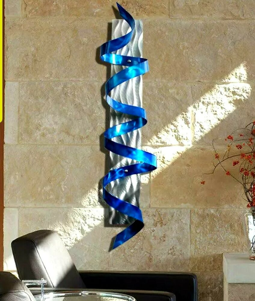 Blue Abstract Metal Wall Sculpture Painted 3d Wall Art