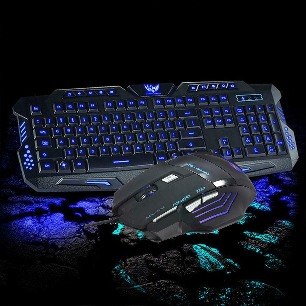 cool multimedia 3 colors led illuminated backlight usb wired gaming keyboard pc ebay. Black Bedroom Furniture Sets. Home Design Ideas
