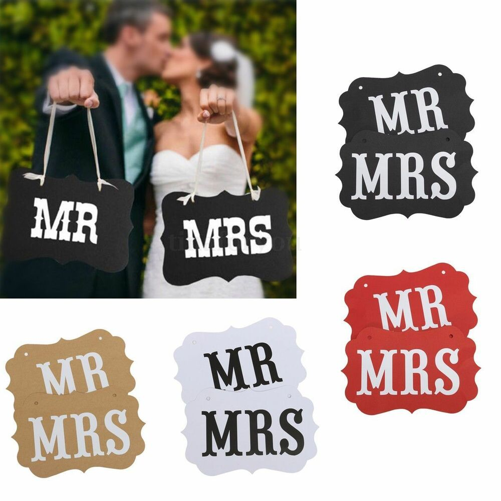 Mr Mrs Letter Signs Banner For Wedding Party Photography Props Accessories