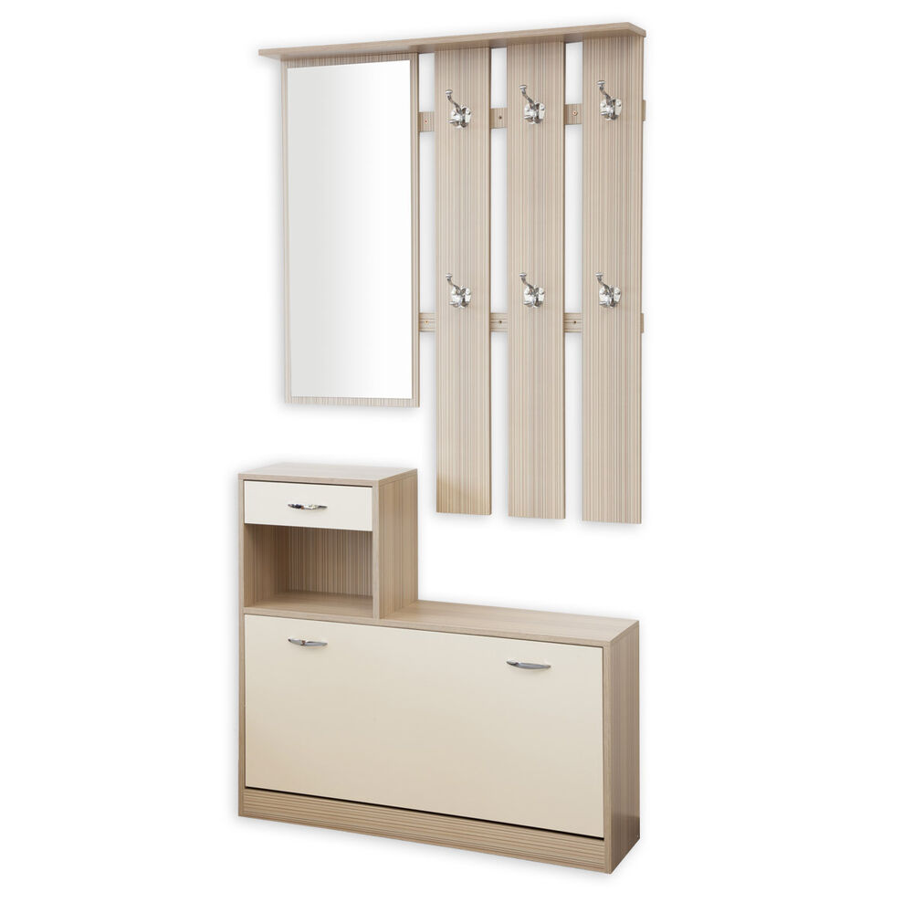 garderobe garderoben set 3 teilig siena woodstock gestreift creme schuhschrank ebay. Black Bedroom Furniture Sets. Home Design Ideas