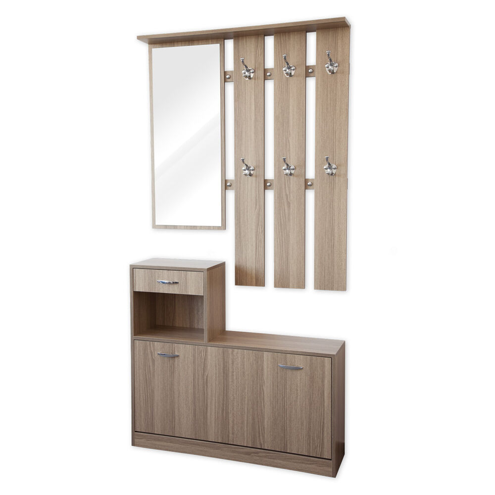 garderoben set 3 teilig siena eiche garderobe flurgarderobe schuhschrank ebay. Black Bedroom Furniture Sets. Home Design Ideas