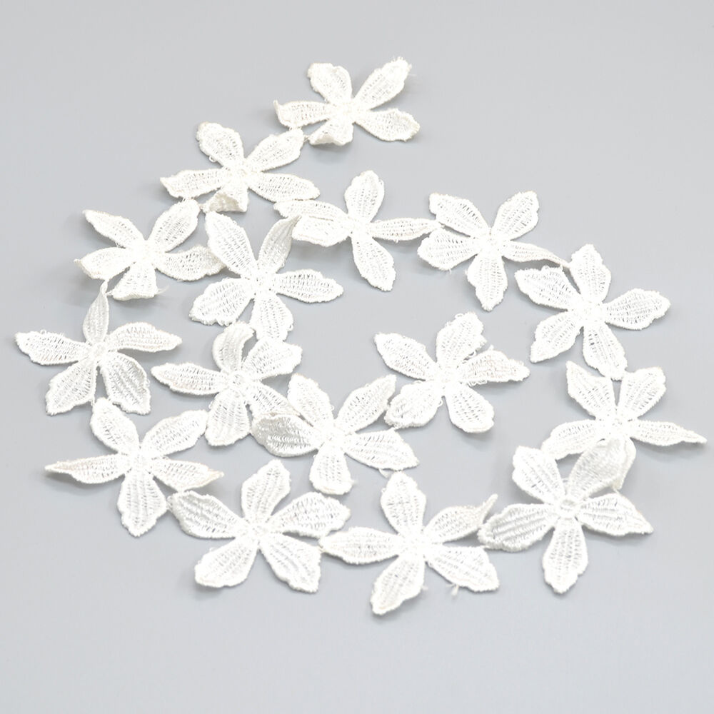 Fabric Flower Trim: 1 Yard Lace Off White Fabric Polyester Flowers Sewing