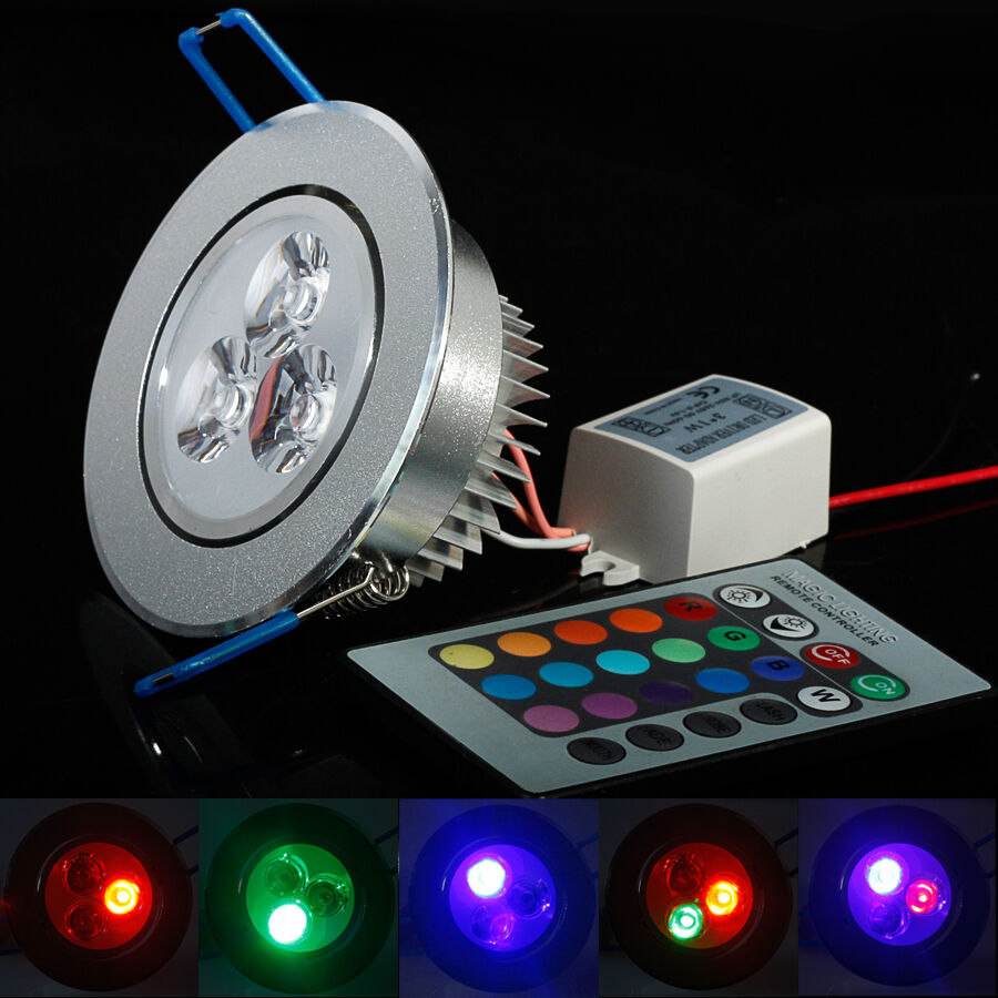 5w rgb led einbauleuchte spot einbau strahler set decken lampe licht ac85 265v ebay. Black Bedroom Furniture Sets. Home Design Ideas