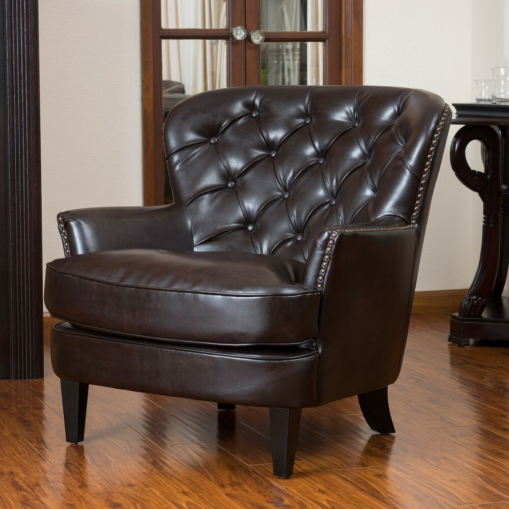 christopher knight home tafton tufted brown leather club. Black Bedroom Furniture Sets. Home Design Ideas