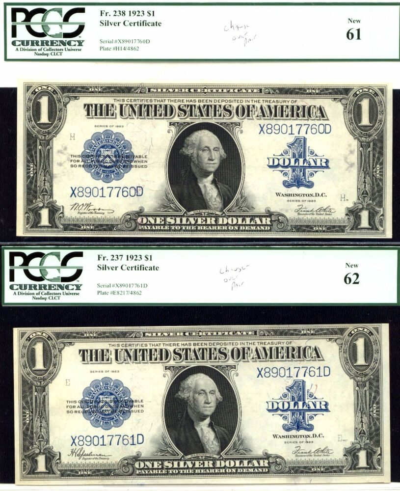 1923 1 Fr 238fr 237 Reverse Changeover Pair Silver Certificate