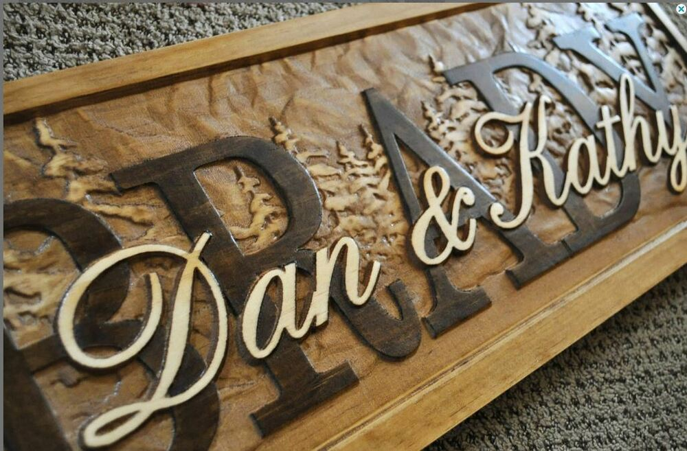 Monogrammed Wedding Gifts Couple: Personalized Family Last Name Sign Custom Carved Wood