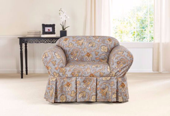 Chair Sure Fit Tennyson Topaz Floral By Waverly One Piece