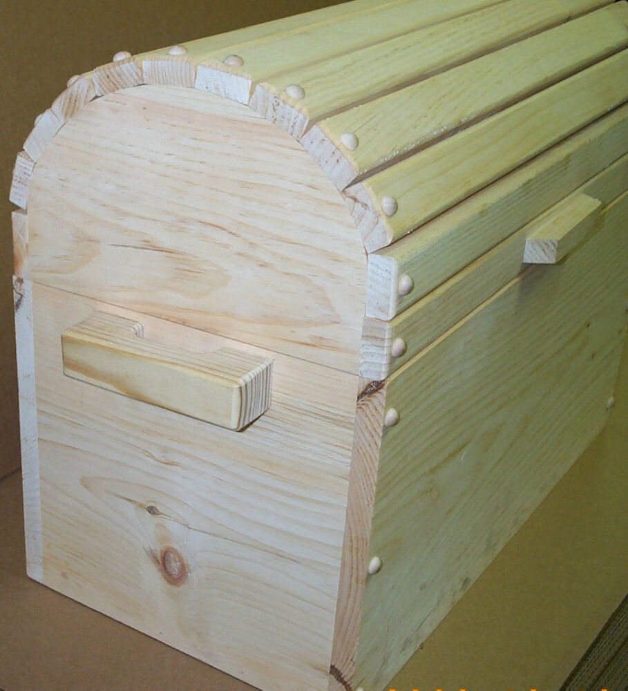 Wooden Toy Chest Round Top Trunk Functional Hand Made