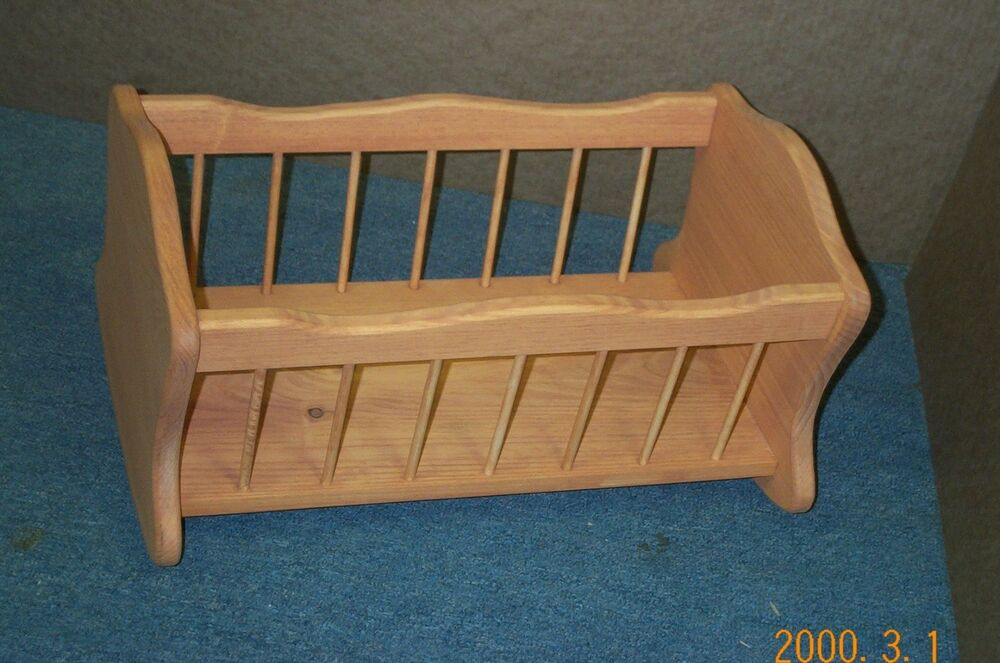 Dowels Doll Cradle Stained Pine Wood Girls Hand Made Hand