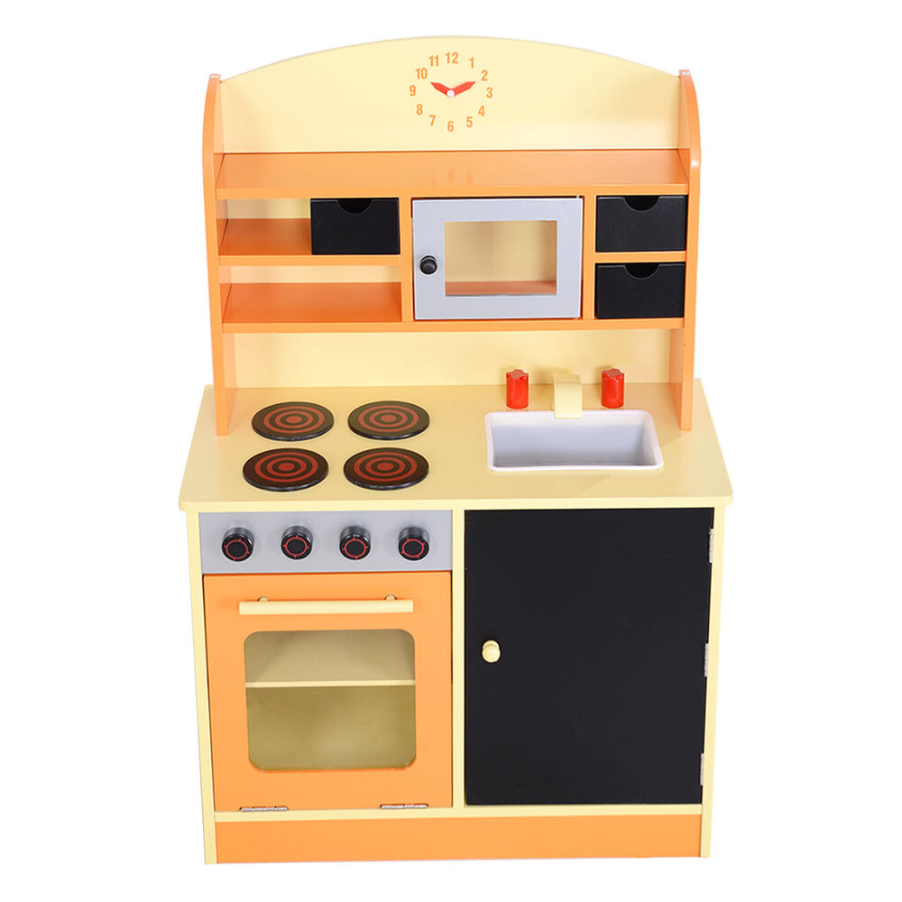 Goplus wood kitchen toy kids cooking pretend play set for Kitchen set wooden