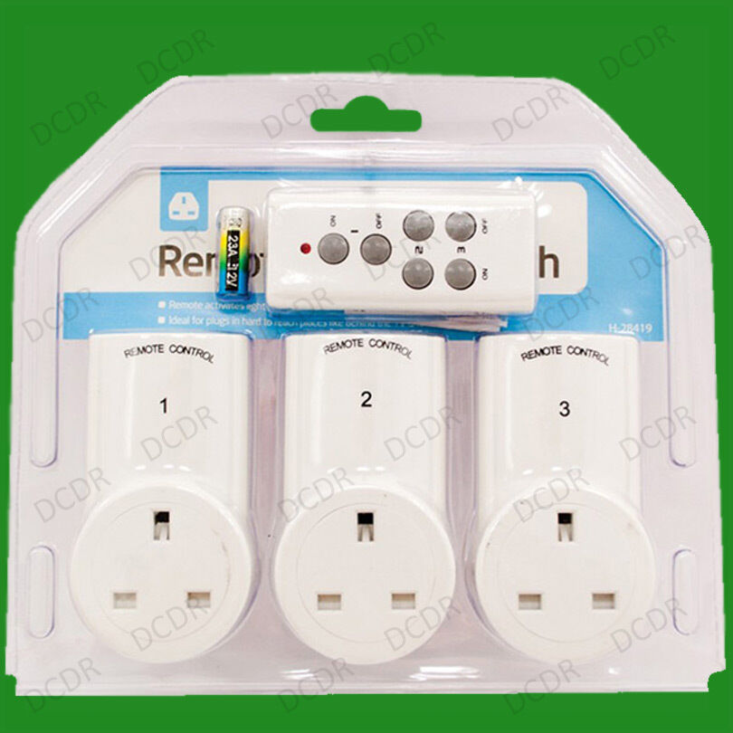 3x wireless remote control electric power saving uk 3 pin. Black Bedroom Furniture Sets. Home Design Ideas