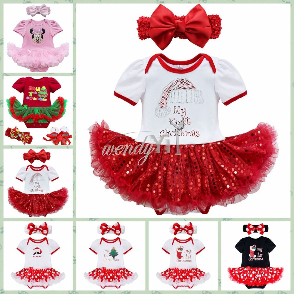 Newborn Baby Girls My First Christmas Tutu Romper Bodysuit