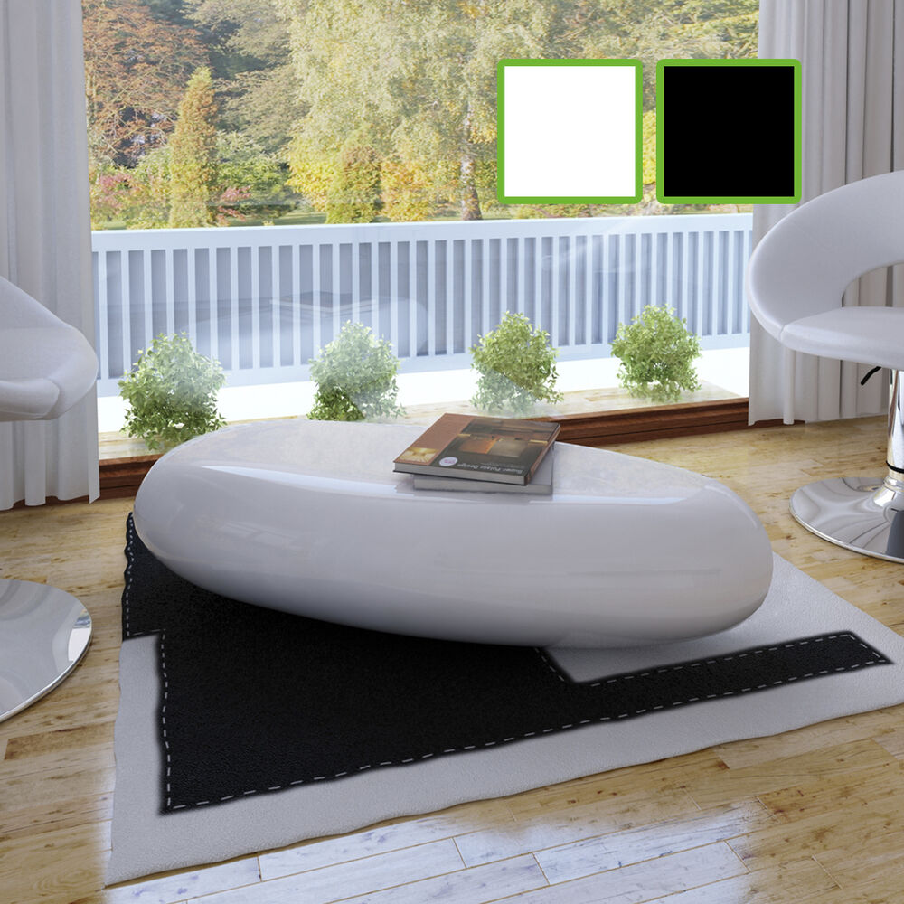 kaffee tisch fiberglas couchtisch beistelltisch hochglanz glas schwarz wei ebay. Black Bedroom Furniture Sets. Home Design Ideas