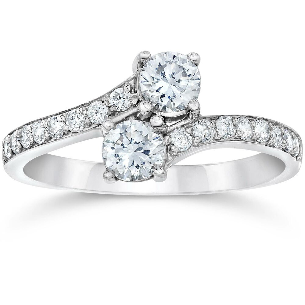 Si1 G Forever Us Two Stone Round Diamond 1 00 Ct Solitaire