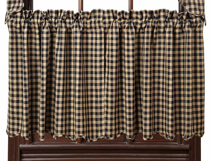 Country Primitive Black Check Scalloped Tier Curtains 24 ...