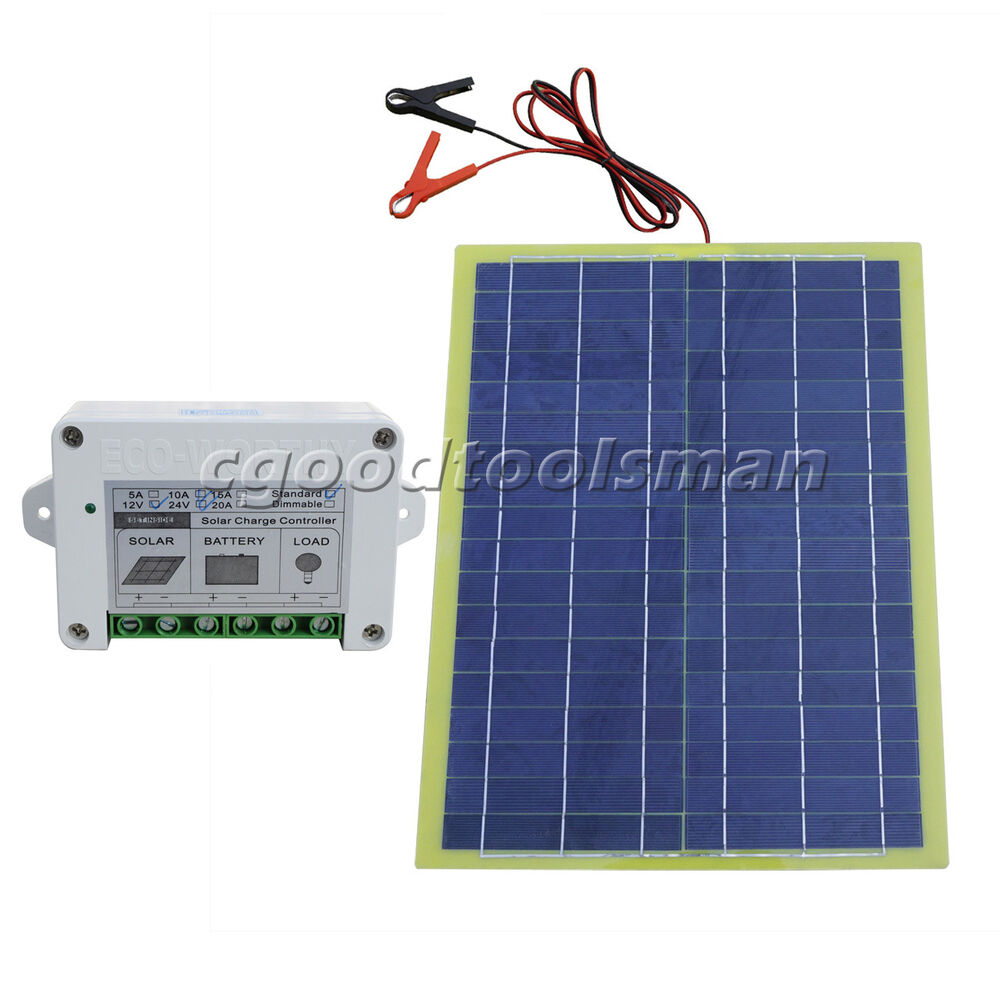 20w Epoxy Solar Panel Kit Amp 10a Controller Portable For 12v