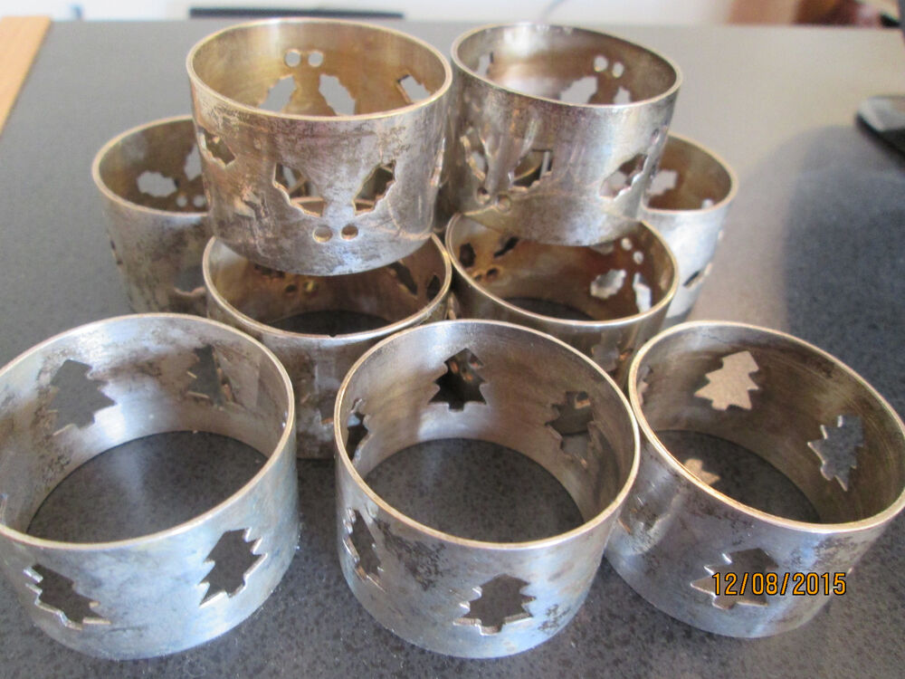 Vintage silver plated pc set of christmas holiday