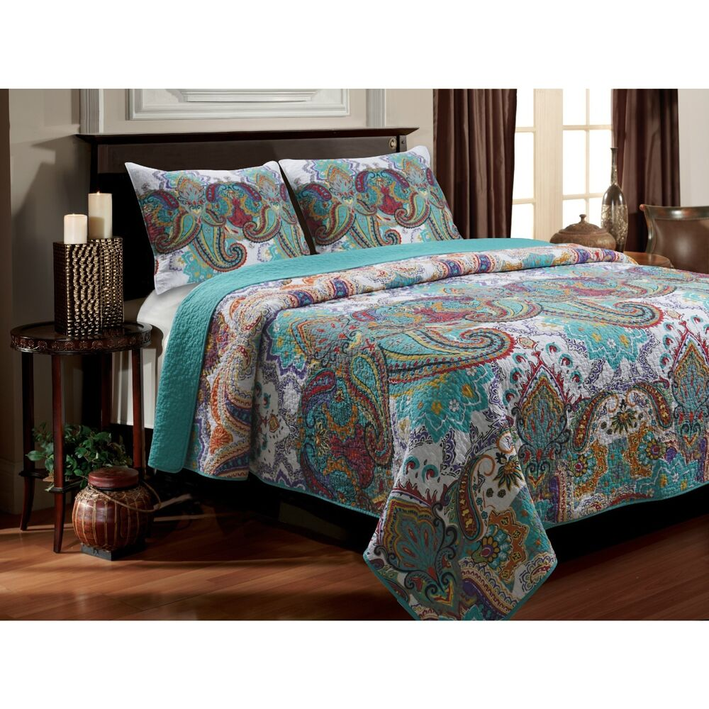 3 Piece King Quilt Set Reversible Paisley Turquoise Teal