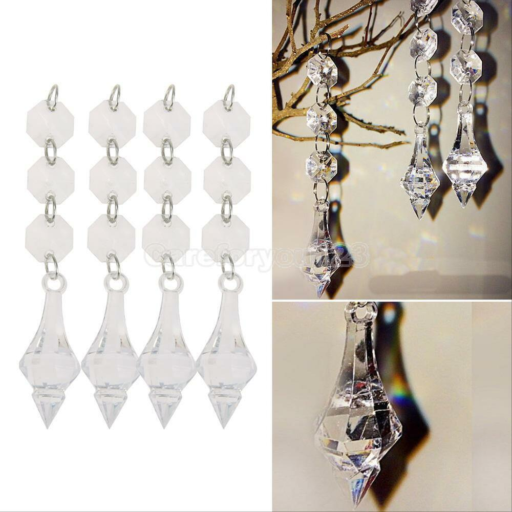 10pcs lot acrylic crystal beads garland chandelier hanging for Plastic chandeliers for parties