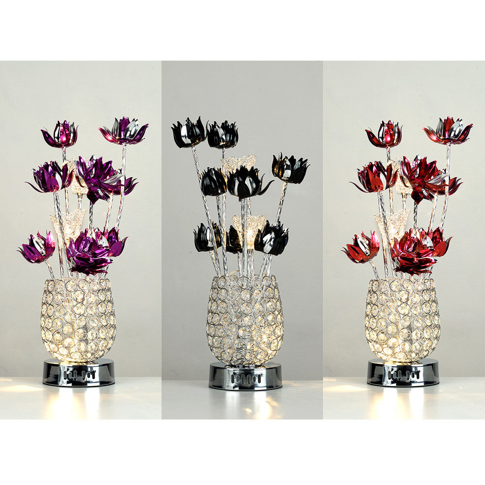 Silver acrylic crystal aluminium flower table lamp light for Aluminium flower floor lamp in silver red