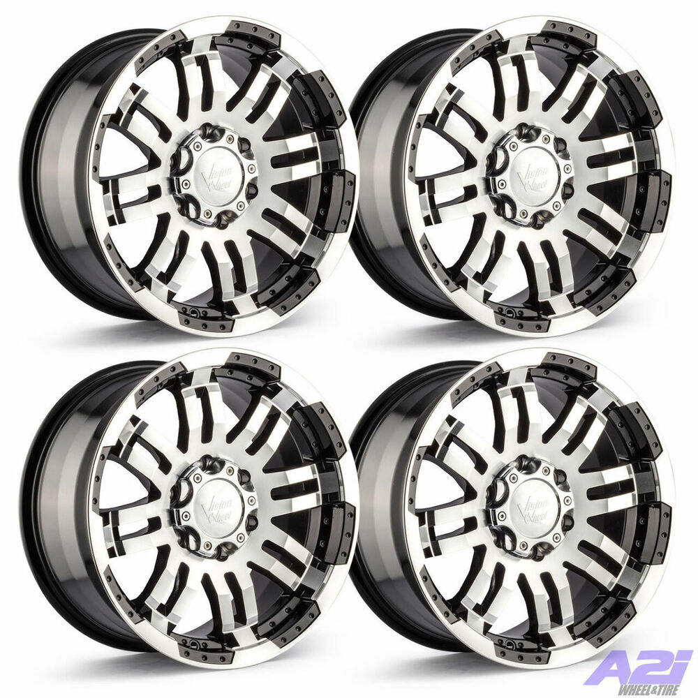 "Dodge Dakota 6 Lug Rims: Set 4 17"" Vision 375 Warrior Black Machined Rims 17x8.5"